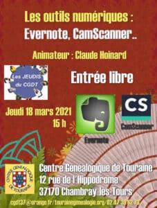 18 mars 2021 - Les jeudis du CGDT - Les outils numériques : Evernote, CamScanner (à distance)