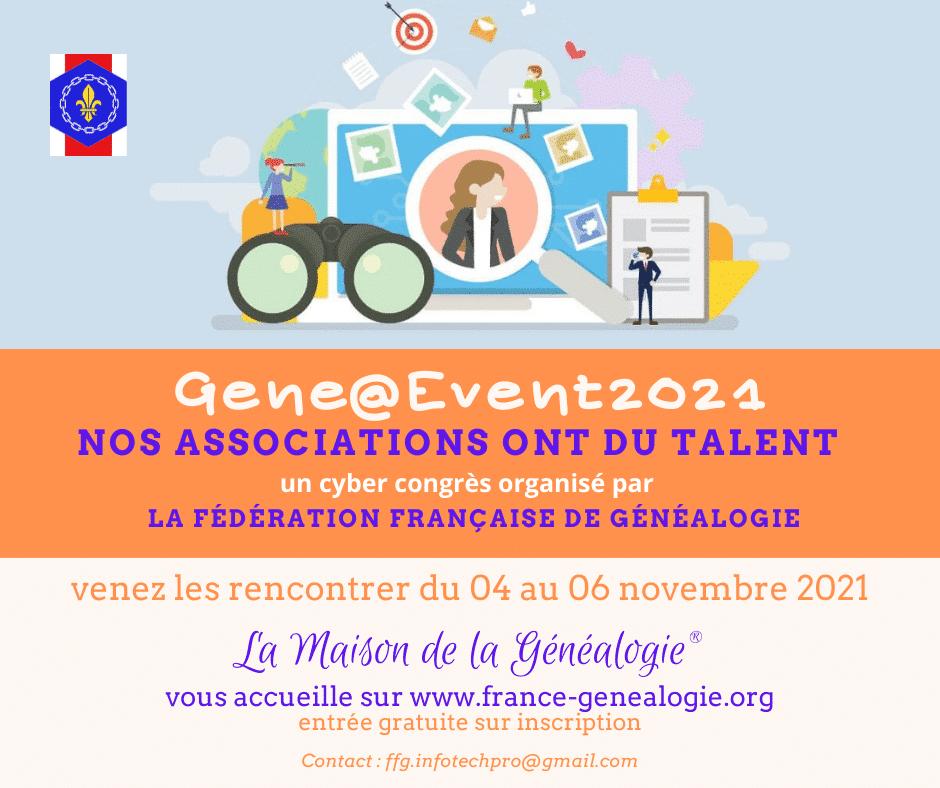 4 au 6 novembre 2021 - Cyber Congrès Gene@Event2021
